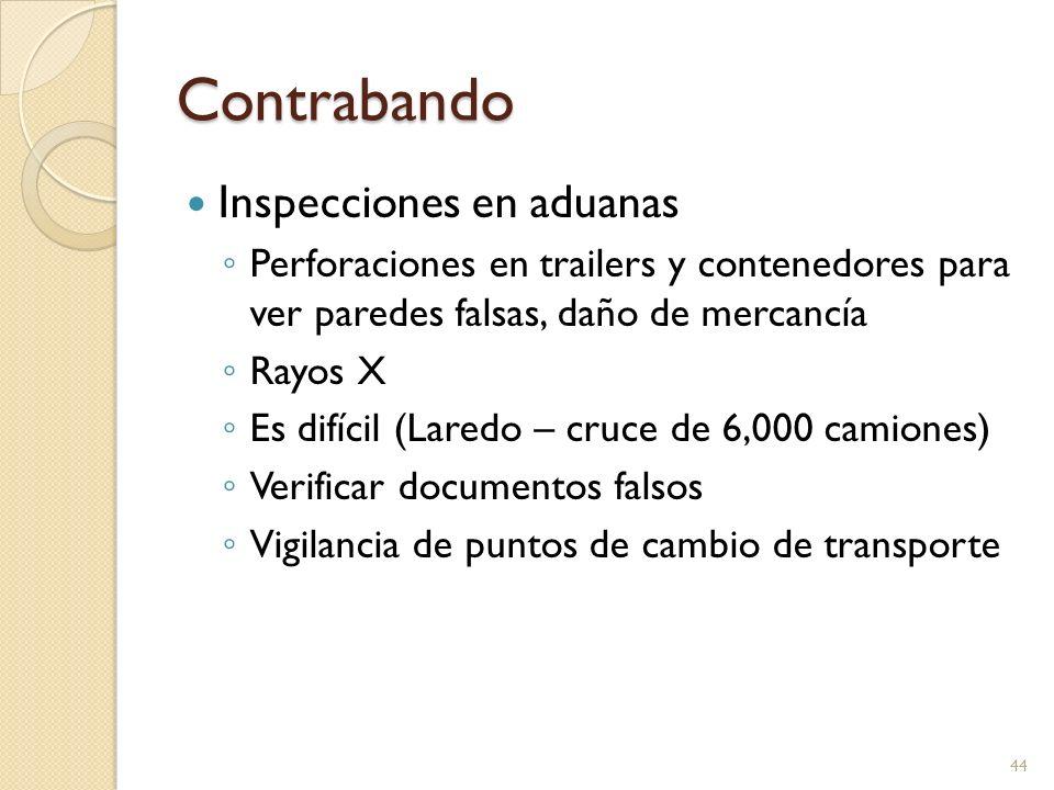 Contrabando Inspecciones en aduanas Perforaciones en trailers y contenedores para ver paredes falsas, daño de mercancía Rayos X Es difícil (Laredo – c
