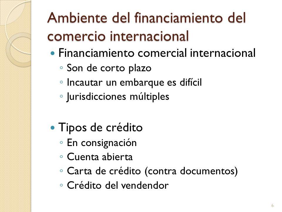 Ambiente del financiamiento del comercio internacional Financiamiento comercial internacional Son de corto plazo Incautar un embarque es difícil Juris