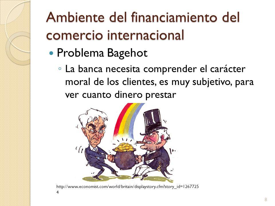 Ambiente del financiamiento del comercio internacional Problema Bagehot La banca necesita comprender el carácter moral de los clientes, es muy subjeti