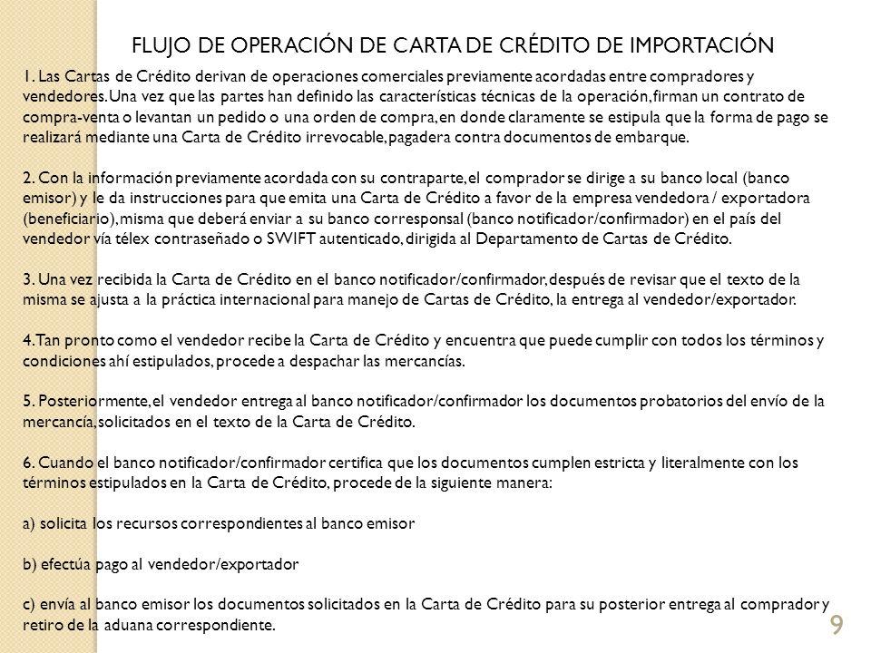 9 FLUJO DE OPERACIÓN DE CARTA DE CRÉDITO DE IMPORTACIÓN 1. Las Cartas de Crédito derivan de operaciones comerciales previamente acordadas entre compra