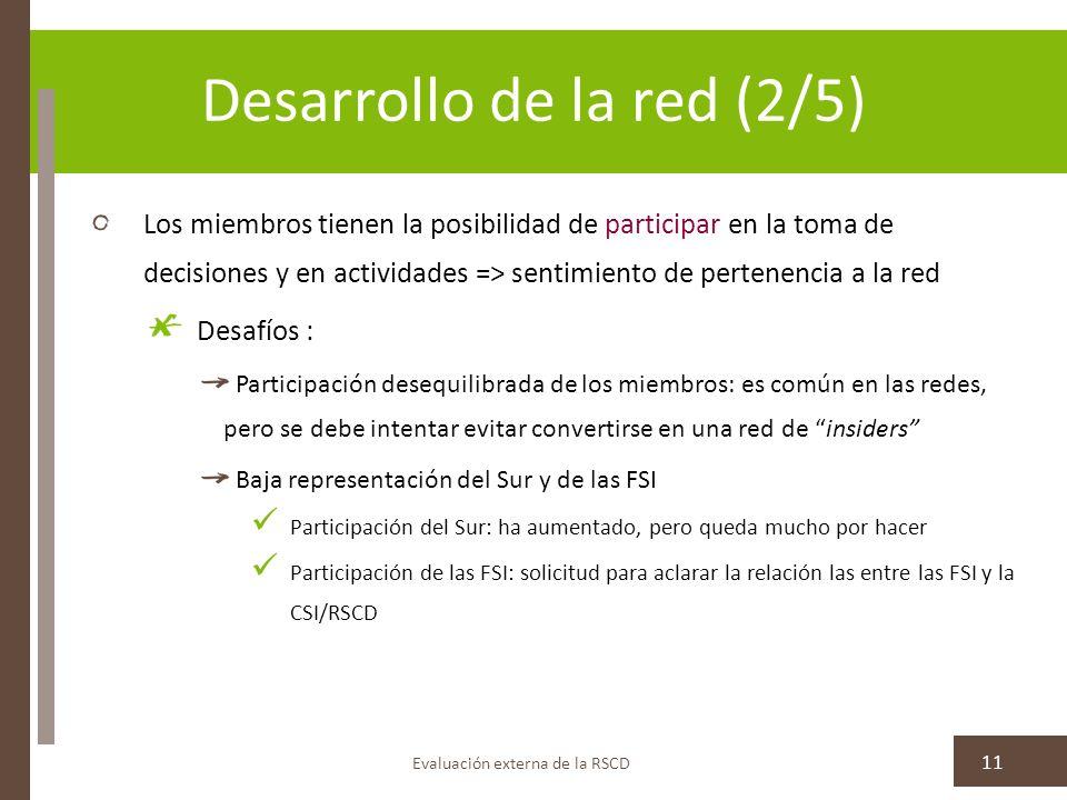 Desarrollo de la red (2/5) Los miembros tienen la posibilidad de participar en la toma de decisiones y en actividades => sentimiento de pertenencia a la red Desafíos : Participación desequilibrada de los miembros: es común en las redes, pero se debe intentar evitar convertirse en una red de insiders Baja representación del Sur y de las FSI Participación del Sur: ha aumentado, pero queda mucho por hacer Participación de las FSI: solicitud para aclarar la relación las entre las FSI y la CSI/RSCD Evaluación externa de la RSCD 11