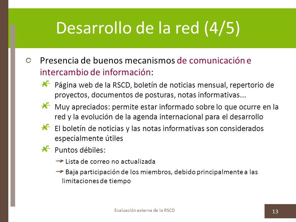 Desarrollo de la red (4/5) Presencia de buenos mecanismos de comunicación e intercambio de información: Página web de la RSCD, boletín de noticias mensual, repertorio de proyectos, documentos de posturas, notas informativas...