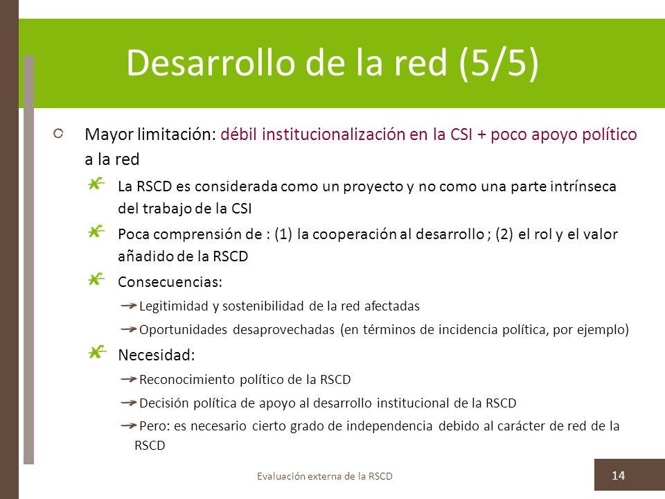 Desarrollo de la red (5/5) Mayor limitación: débil institucionalización en la CSI + poco apoyo político a la red La RSCD es considerada como un proyecto y no como una parte intrínseca del trabajo de la CSI Poca comprensión de : (1) la cooperación al desarrollo ; (2) el rol y el valor añadido de la RSCD Consecuencias: Legitimidad y sostenibilidad de la red afectadas Oportunidades desaprovechadas (en términos de incidencia política, por ejemplo) Necesidad: Reconocimiento político de la RSCD Decisión política de apoyo al desarrollo institucional de la RSCD Pero: es necesario cierto grado de independencia debido al carácter de red de la RSCD Evaluación externa de la RSCD 14