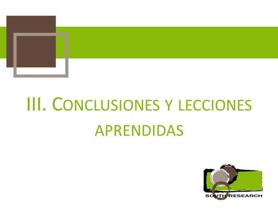 III. C ONCLUSIONES Y LECCIONES APRENDIDAS