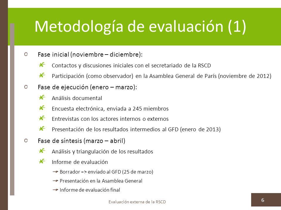 Metodología de evaluación (2) Evaluación externa de la RSCD 7 Medidas para garantizar el uso de la evaluación: Resumen en inglés, francés y español Publicación como Documento de Desarrollo en la web de la RSCD Retos metodológicos debidos a: La naturaleza mundial de la RSCD Baja tasa de respuestas a la encuesta (8,6%) => resultados no representativos de la totalidad de la red