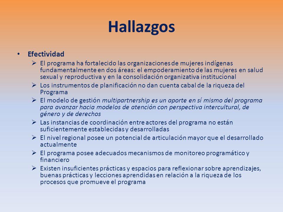 Hallazgos Efectividad El programa ha fortalecido las organizaciones de mujeres indígenas fundamentalmente en dos áreas: el empoderamiento de las mujeres en salud sexual y reproductiva y en la consolidación organizativa institucional Los instrumentos de planificación no dan cuenta cabal de la riqueza del Programa El modelo de gestión multipartnership es un aporte en sí mismo del programa para avanzar hacia modelos de atención con perspectiva intercultural, de género y de derechos Las instancias de coordinación entre actores del programa no están suficientemente establecidas y desarrolladas El nivel regional posee un potencial de articulación mayor que el desarrollado actualmente El programa posee adecuados mecanismos de monitoreo programático y financiero Existen insuficientes prácticas y espacios para reflexionar sobre aprendizajes, buenas prácticas y lecciones aprendidas en relación a la riqueza de los procesos que promueve el programa