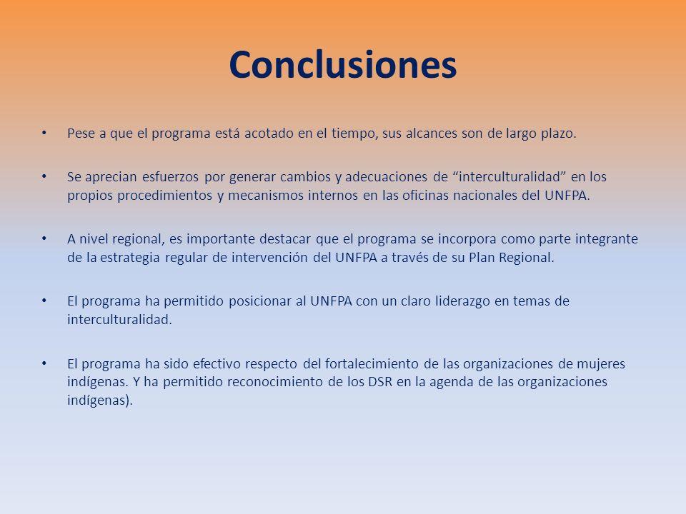 Conclusiones El programa supone una hipótesis sobre el rol de las organizaciones indígenas para liderar un proceso de incidencia que mejore y haga pertinentes los sistemas de salud.