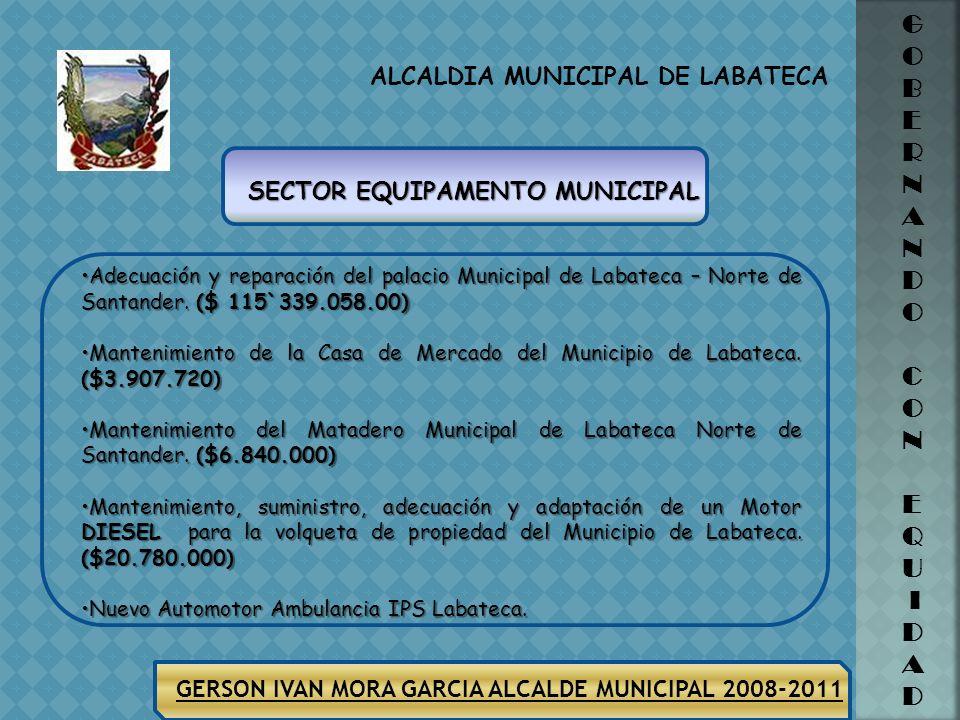 ALCALDIA MUNICIPAL DE LABATECA G O B E R N A N D O C O N E Q U I D A D GERSON IVAN MORA GARCIA ALCALDE MUNICIPAL 2008-2011 Prestar los servicios Profe