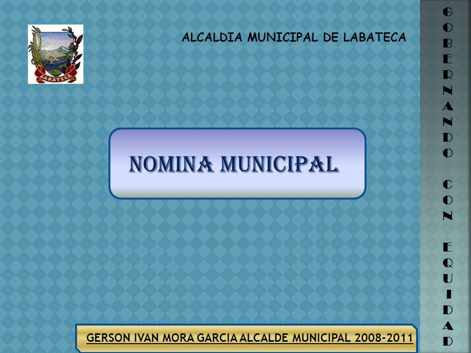 ALCALDIA MUNICIPAL DE LABATECA G O B E R N A N D O C O N E Q U I D A D GERSON IVAN MORA GARCIA ALCALDE MUNICIPAL 2008-2011 SECTOR EQUIPAMENTO MUNICIPA