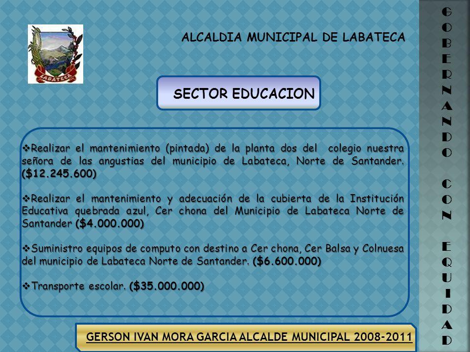 GERSON IVAN MORA GARCIA ALCALDE MUNICIPAL 2008-2011 ALCALDIA MUNICIPAL DE LABATECA G O B E R N A N D O C O N E Q U I D A D En el Municipio de Labateca