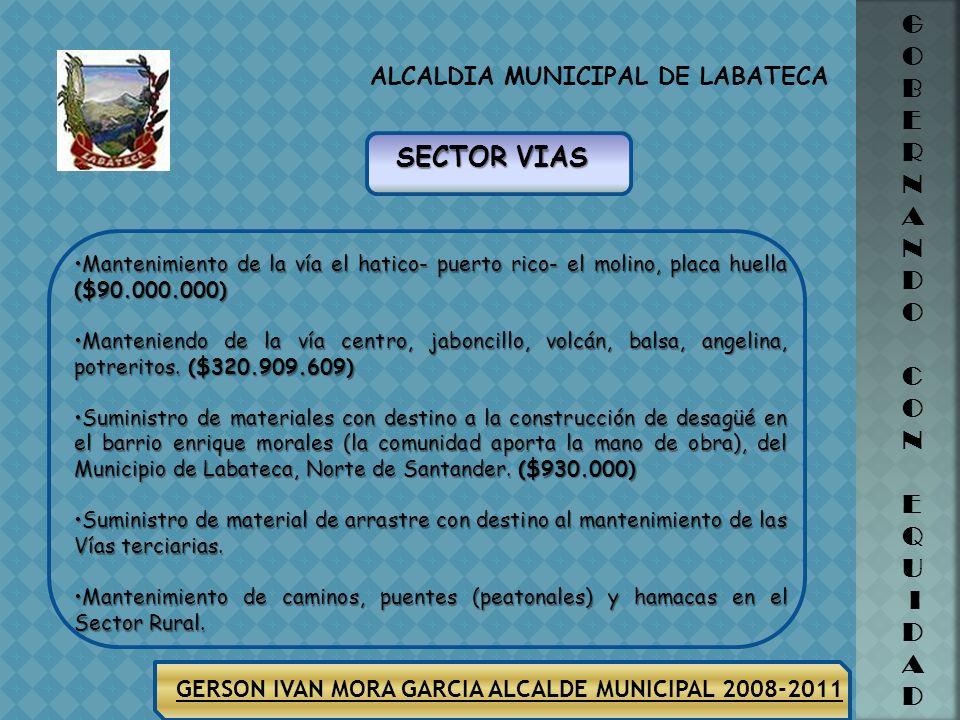 ALCALDIA MUNICIPAL DE LABATECA G O B E R N A N D O C O N E Q U I D A D GERSON IVAN MORA GARCIA ALCALDE MUNICIPAL 2008-2011 Compraventa de área estraté