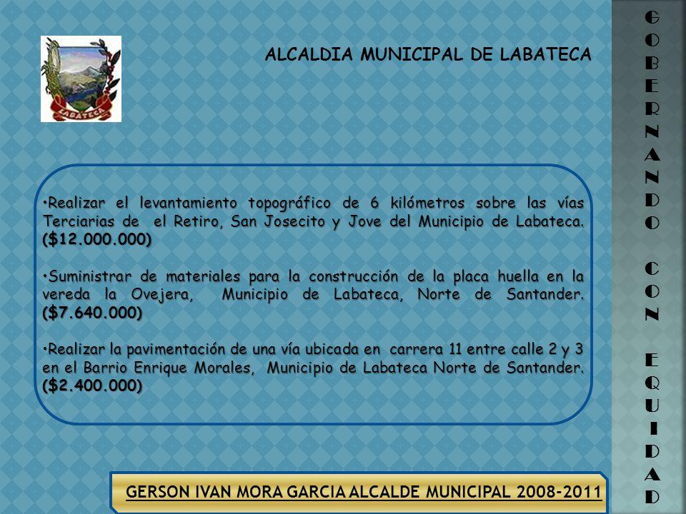 ALCALDIA MUNICIPAL DE LABATECA G O B E R N A N D O C O N E Q U I D A D GERSON IVAN MORA GARCIA ALCALDE MUNICIPAL 2008-2011 SECTOR VIAS Mantenimiento d
