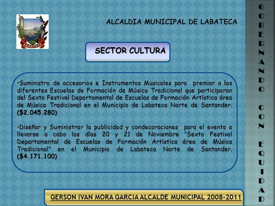 ALCALDIA MUNICIPAL DE LABATECA G O B E R N A N D O C O N E Q U I D A D GERSON IVAN MORA GARCIA ALCALDE MUNICIPAL 2008-2011 SECTOR VIVIENDA Ejecución d
