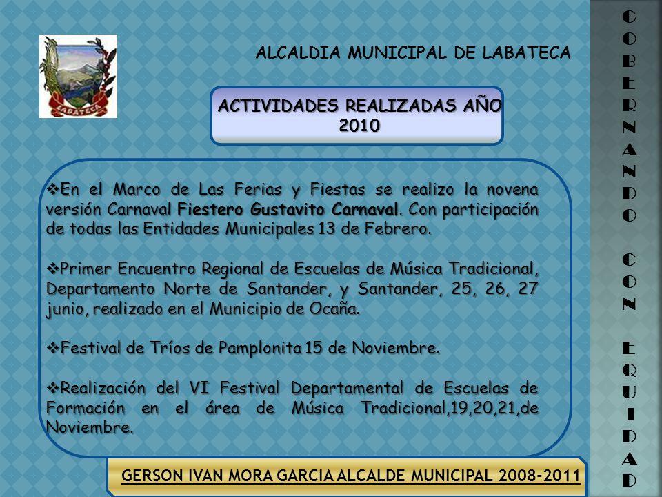 ALCALDIA MUNICIPAL DE LABATECA GERSON IVAN MORA GARCIA ALCALDE MUNICIPAL 2008-2011 G O B E R N A N D O C O N E Q U I D A DZONAGRUPO TOTAL PARTICIPANTE