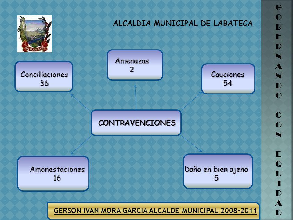 ALCALDIA MUNICIPAL DE LABATECA G O B E R N A N D O C O N E Q U I D A D GERSON IVAN MORA GARCIA ALCALDE MUNICIPAL 2008-2011 ACCIONES LESIONES DOLOSAS 8