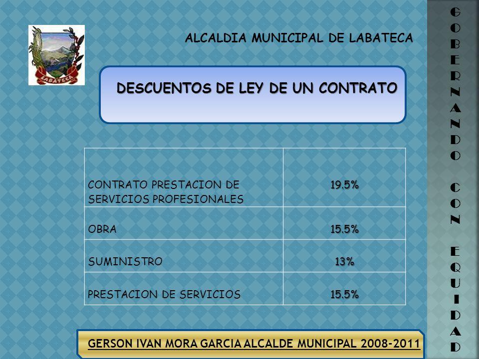 ALCALDIA MUNICIPAL DE LABATECA GERSON IVAN MORA GARCIA ALCALDE MUNICIPAL 2008-2011 G O B E R N A N D O C O N E Q U I D A D CONTRATO PRESTACION DE SERVICIOS PROFESIONALES19.5% OBRA15.5% SUMINISTRO13% PRESTACION DE SERVICIOS15.5% DESCUENTOS DE LEY DE UN CONTRATO