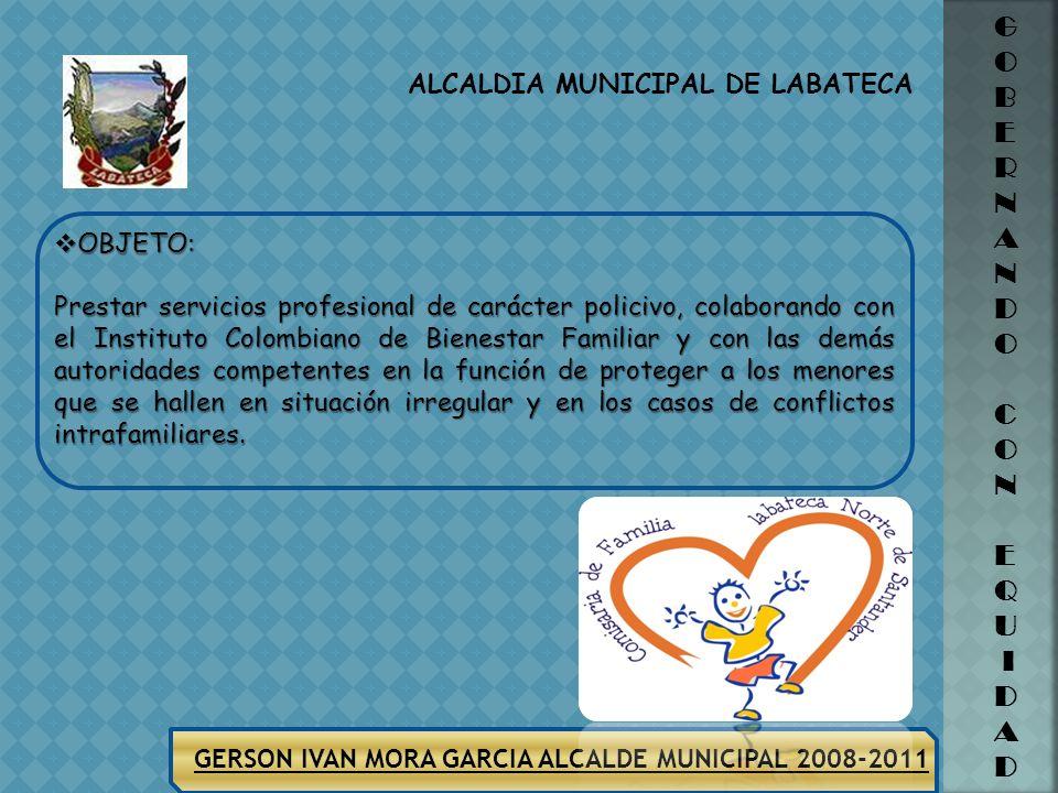 ALCALDIA MUNICIPAL DE LABATECA GERSON IVAN MORA GARCIA ALCALDE MUNICIPAL 2008-2011 G O B E R N A N D O C O N E Q U I D A D COMISARIA DE FAMILIA