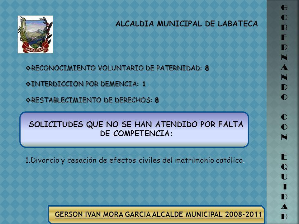 ALCALDIA MUNICIPAL DE LABATECA GERSON IVAN MORA GARCIA ALCALDE MUNICIPAL 2008-2011 G O B E R N A N D O C O N E Q U I D A D NÚMERO DE CASOS ATENDIDOS 7