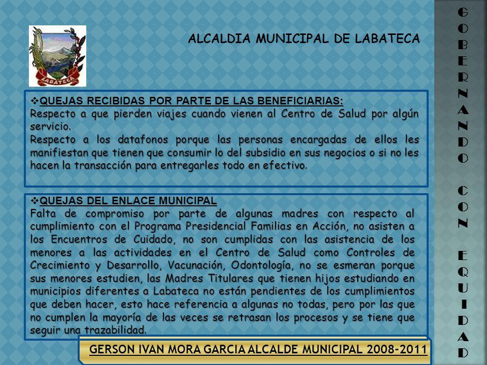 GERSON IVAN MORA GARCIA ALCALDE MUNICIPAL 2008-2011 ALCALDIA MUNICIPAL DE LABATECA G O B E R N A N D O C O N E Q U I D A D ORGANIZACIONES FAMILIAS EN