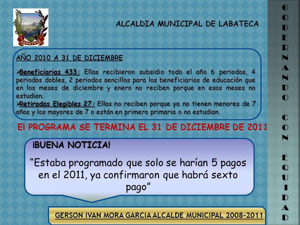 GERSON IVAN MORA GARCIA ALCALDE MUNICIPAL 2008-2011 ALCALDIA MUNICIPAL DE LABATECA G O B E R N A N D O C O N E Q U I D A D QUEJAS RECIBIDAS POR PARTE