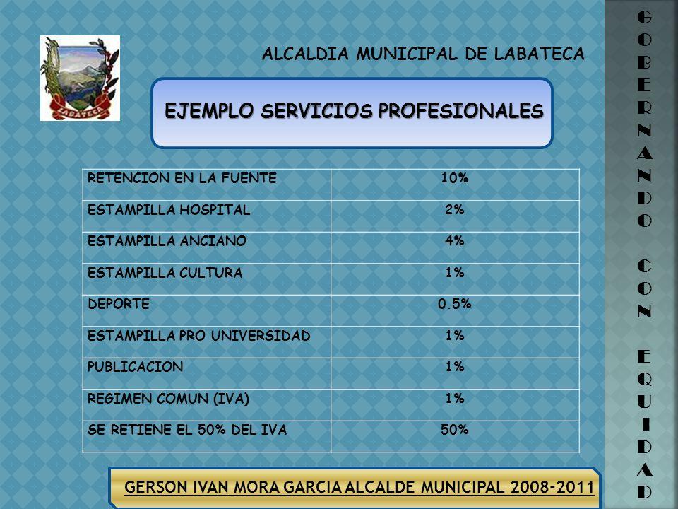 ALCALDIA MUNICIPAL DE LABATECA GERSON IVAN MORA GARCIA ALCALDE MUNICIPAL 2008-2011 G O B E R N A N D O C O N E Q U I D A D CONTRATO PRESTACION DE SERV