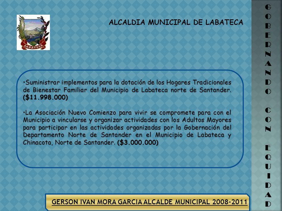 ALCALDIA MUNICIPAL DE LABATECA G O B E R N A N D O C O N E Q U I D A D GERSON IVAN MORA GARCIA ALCALDE MUNICIPAL 2008-2011 SECTOR POBLACION VULNERABLE