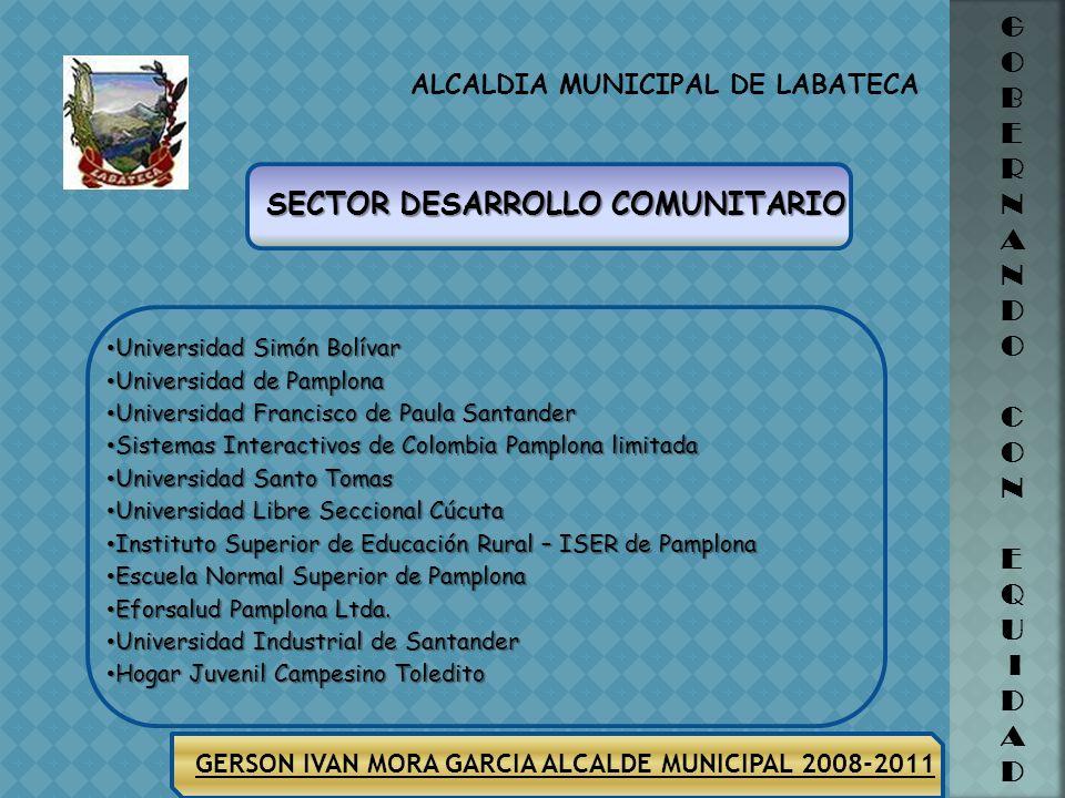 ALCALDIA MUNICIPAL DE LABATECA G O B E R N A N D O C O N E Q U I D A D GERSON IVAN MORA GARCIA ALCALDE MUNICIPAL 2008-2011 Suministrar implementos par
