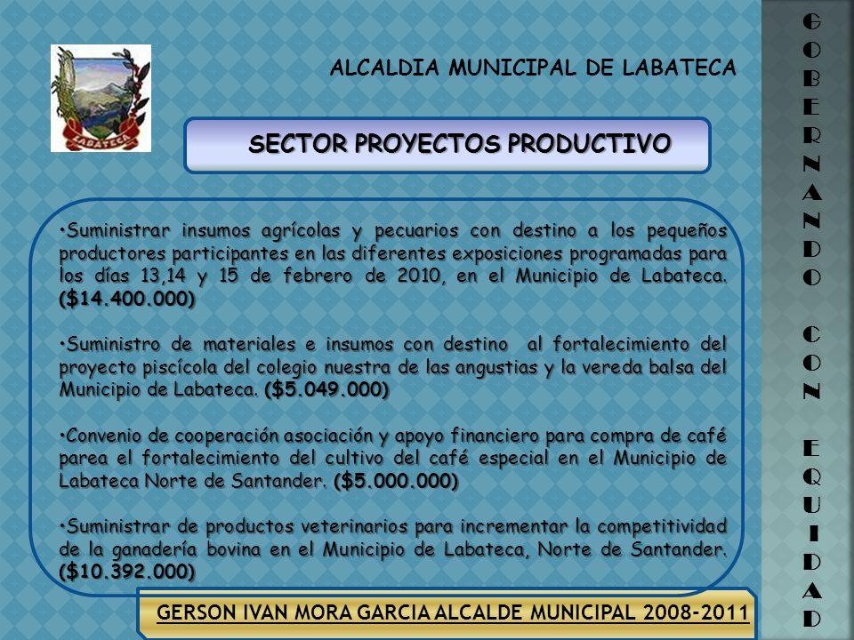 ALCALDIA MUNICIPAL DE LABATECA G O B E R N A N D O C O N E Q U I D A D GERSON IVAN MORA GARCIA ALCALDE MUNICIPAL 2008-2011 SECTOR DESARROLLO COMUNITAR