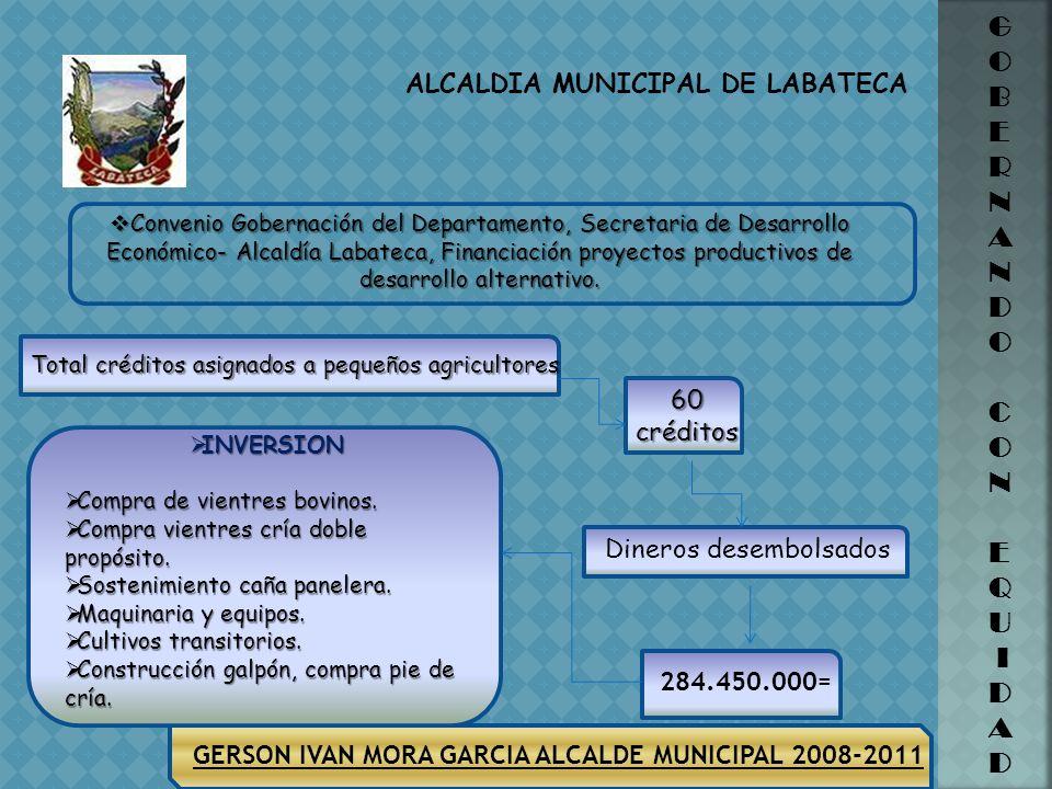 ALCALDIA MUNICIPAL DE LABATECA G O B E R N A N D O C O N E Q U I D A D GERSON IVAN MORA GARCIA ALCALDE MUNICIPAL 2008-2011 Suministrar implementos (in