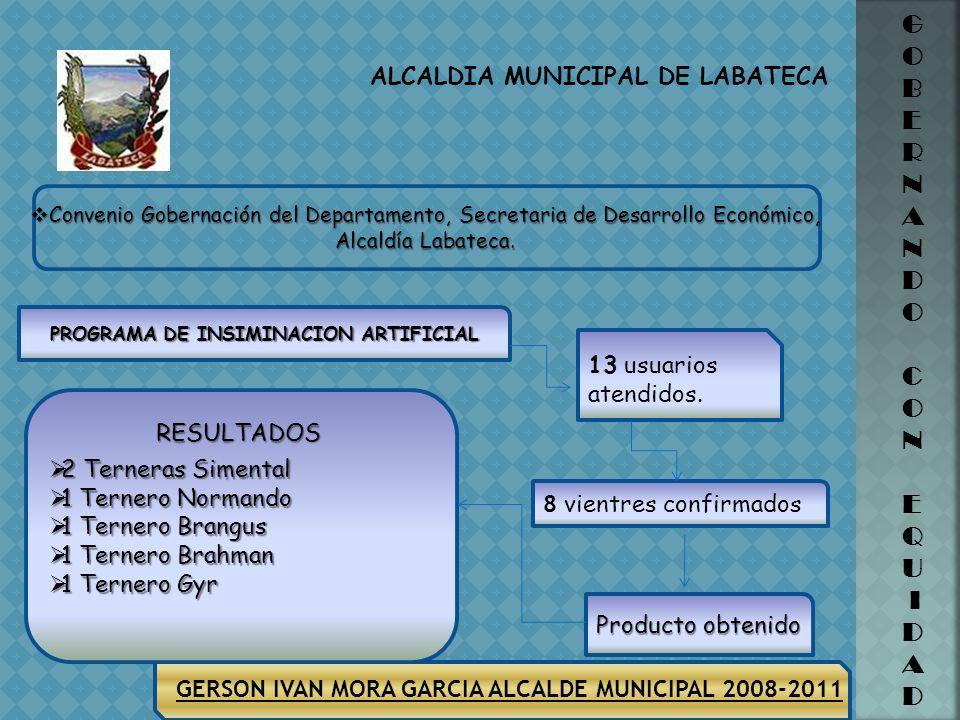 ALCALDIA MUNICIPAL DE LABATECA GERSON IVAN MORA GARCIA ALCALDE MUNICIPAL 2008-2011 G O B E R N A N D O C O N E Q U I D A D Convenio Gobernación del De