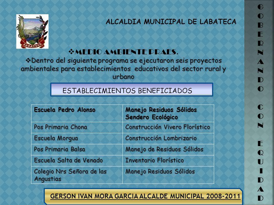 ALCALDIA MUNICIPAL DE LABATECA GERSON IVAN MORA GARCIA ALCALDE MUNICIPAL 2008-2011 G O B E R N A N D O C O N E Q U I D A D