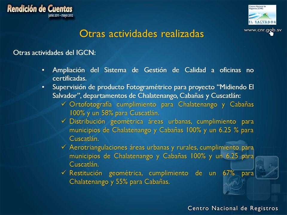 Otras actividades del IGCN: Ampliación del Sistema de Gestión de Calidad a oficinas no certificadas.