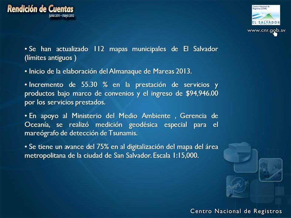 Se han actualizado 112 mapas municipales de El Salvador (límites antiguos ) Se han actualizado 112 mapas municipales de El Salvador (límites antiguos ) Inicio de la elaboración del Almanaque de Mareas 2013.