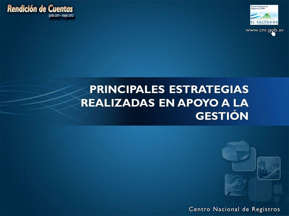 PRINCIPALES ESTRATEGIAS REALIZADAS EN APOYO A LA GESTIÓN