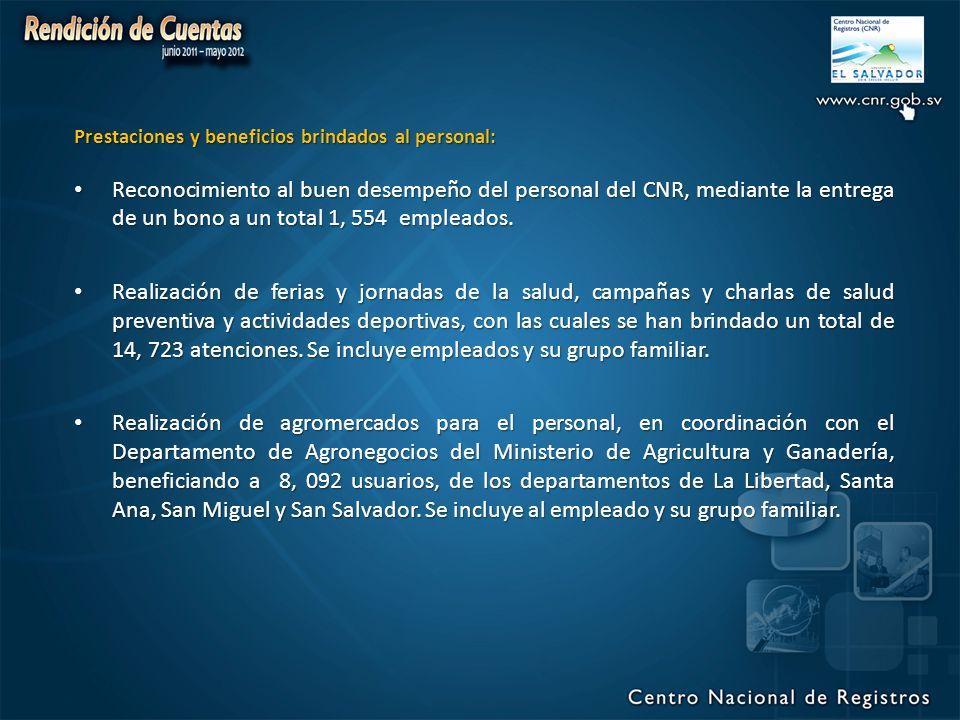 Prestaciones y beneficios brindados al personal: Reconocimiento al buen desempeño del personal del CNR, mediante la entrega de un bono a un total 1, 554 empleados.