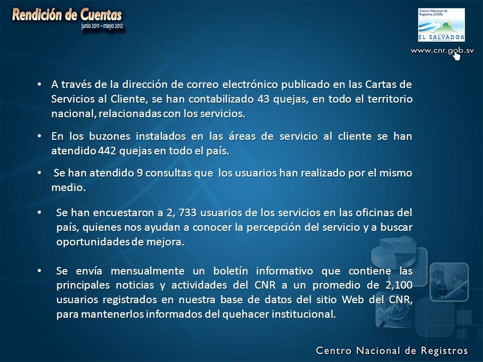 A través de la dirección de correo electrónico publicado en las Cartas de Servicios al Cliente, se han contabilizado 43 quejas, en todo el territorio nacional, relacionadas con los servicios.