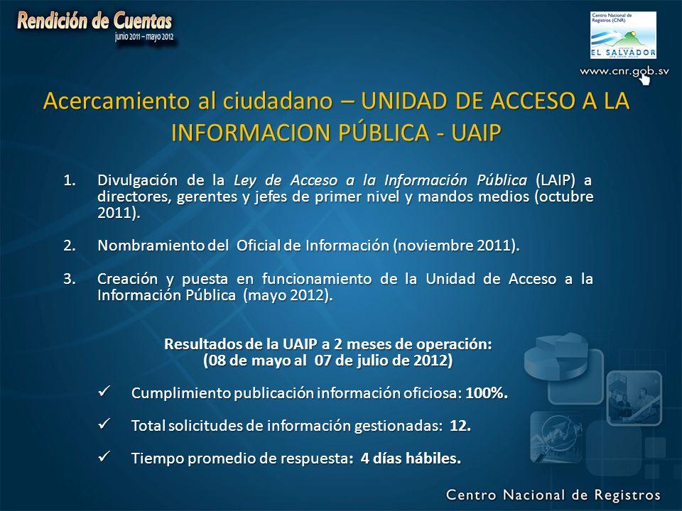 Acercamiento al ciudadano – UNIDAD DE ACCESO A LA INFORMACION PÚBLICA - UAIP 1.Divulgación de la Ley de Acceso a la Información Pública (LAIP) a directores, gerentes y jefes de primer nivel y mandos medios (octubre 2011).