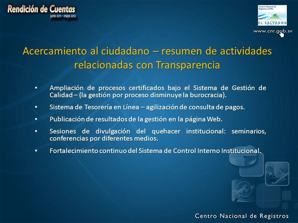 Acercamiento al ciudadano – resumen de actividades relacionadas con Transparencia Ampliación de procesos certificados bajo el Sistema de Gestión de Calidad – (la gestión por proceso disminuye la burocracia).