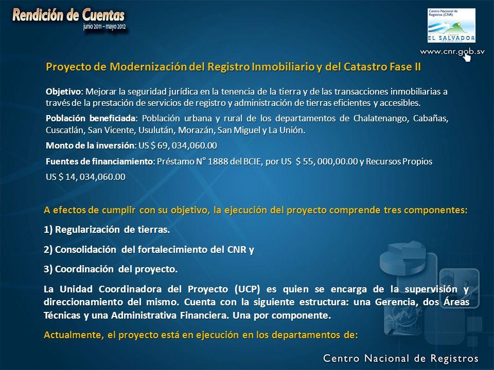 Proyecto de Modernización del Registro Inmobiliario y del Catastro Fase II Objetivo: Mejorar la seguridad jurídica en la tenencia de la tierra y de las transacciones inmobiliarias a través de la prestación de servicios de registro y administración de tierras eficientes y accesibles.