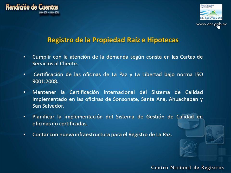 Registro de la Propiedad Raíz e Hipotecas Cumplir con la atención de la demanda según consta en las Cartas de Servicios al Cliente.