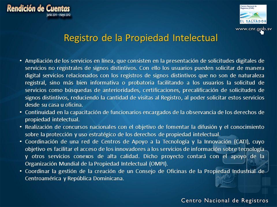 Registro de la Propiedad Intelectual Ampliación de los servicios en línea, que consisten en la presentación de solicitudes digitales de servicios no registrales de signos distintivos.