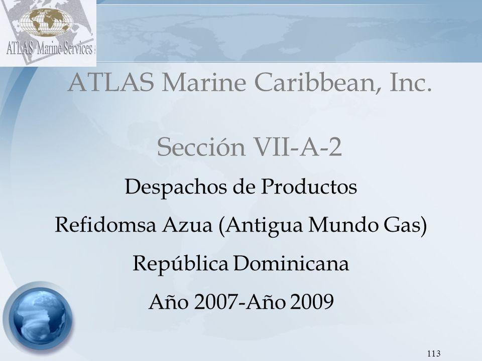 ATLAS Marine Caribbean, Inc Dirección de Hidrocarburos - Proyecto SEIC RD Gráfica 8: Despachos de Gas Licuado de Petróleo REFIDOMSA AZUA (ANTIGUA MUNDO GAS) 2007-2009 114 AÑOEneroFebreroMarzoAbrilMayoJunioJulioAgostoSeptiembreOctubreNoviembreDiciembreTOTAL 2007 --57,87599,889123,243125,627115,356109,922108,59588,095138,738127,7971,095,138 2008 150,399138,908128,137117,25094,843112,63363,60610,21826,61137,22987,149100,9841,067,969 2009 20,5624,09528,399------8,8887,02739,017107,989 El en año 2009, comparativamente con los años 2008 y 2009, los despachos fueron reducidos en 2% y 90% respectivamente.