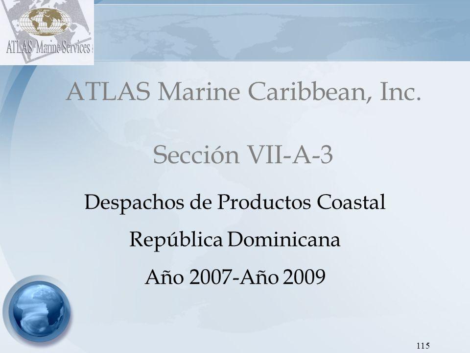 ATLAS Marine Caribbean, Inc Dirección de Hidrocarburos - Proyecto SEIC RD Gráfica 9: Despachos de Gasoil Regular COASTAL 2007-2009 116 AÑOEneroFebreroMarzoAbrilMayoJunioJulioAgostoSeptiembreOctubreNoviembreDiciembreTOTAL 2007 131,383162,464186,673142,808134,451165,952142,635185,166138,396130,967145,061151,9311,817,888 2008 148,622176,496198,995126,632171,609--73,116116,616105,89484,85099,7921,302,622 2009 73,96185,35294,84581,03783,95576,58189,99167,105113,58596,89066,919105,8781,036,098 Los despachos de gasoil regular desde Coastal en el 2009 presentaron reducciones en 43% con respecto al 2007 y 20% con respecto al 2008.