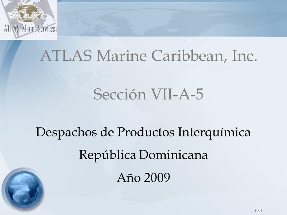 ATLAS Marine Caribbean, Inc Dirección de Hidrocarburos - Proyecto SEIC RD Gráfica 14: Despachos de Gasoil Regular INTERQUIMICA 2009 122 AÑOEneroFebreroMarzoAbrilMayoJunioJulioAgostoSeptiembreOctubreNoviembreDiciembreTOTAL 2009 32,19130,99875,31637,71130,17125,07732,27139,59936,70145,53441,43377,746 504,749