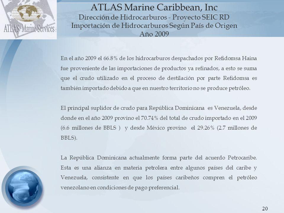 21 ATLAS Marine Caribbean, Inc Dirección de Hidrocarburos - Proyecto SEIC RD Gráfica 1: Importación de Hidrocarburos Según País de Origen CRUDO (En Barriles) Año 2009 PAISVENEZUELAMEXICOTOTAL CRUDO (BBLS) 6,577,114.482,719,972.86 9,297,087.34 % 70.7429.26100.00 La importación de crudo en el año 2009 (9,297,087 BBLS) promediada por mes es de 774,757 BBLS y promediada por día es 25,471 BBLS