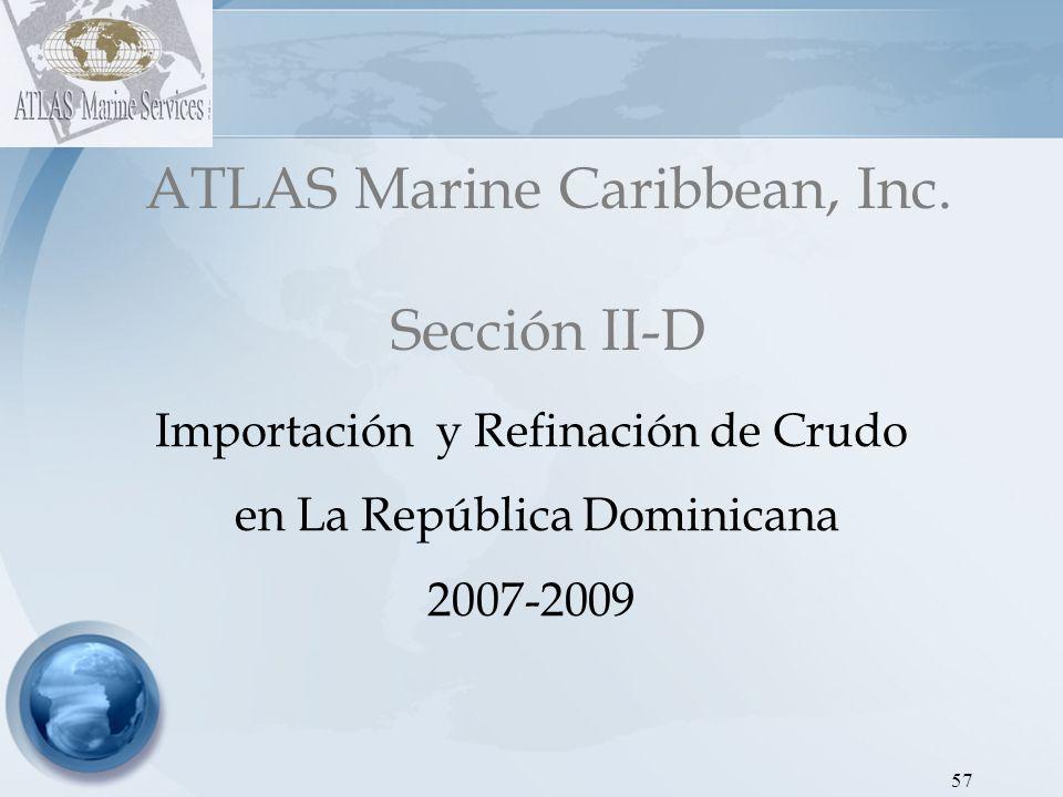 ATLAS Marine Caribbean, Inc Dirección de Hidrocarburos - Proyecto SEIC RD Gráfica 1: Importación de Crudo Refidomsa y Falcombridge 2007 58 MesesEneroFebreroMarzoAbrilMayoJunioJulioAgostoSeptiembreOctubreNoviembreDiciembreTOTAL Refidomsa370,341.40545,831.00550,328.00402,545.001,454,253.001,154,667.00497,533.12668,965.001,086,218.341,098,882.700.00475,518.828,305,083.38 Falcombridge177,822.04403,462.69220,762.00191,206.49439,396.74200,186.00420,463.00410,803.00439,548.38409,995.320.00220,559.473,534,205.13 http://www.bancentral.gov.do/otras_noticias.asp?a=listindiario2007-04-11 Falcombridge cuenta con una refinería interna de crudo, con capacidad de procesar 13,000 barriles de crudo por día Los combustible obtenidos por la refinería de falcombridge eran utilizados para sus actividades mineras.