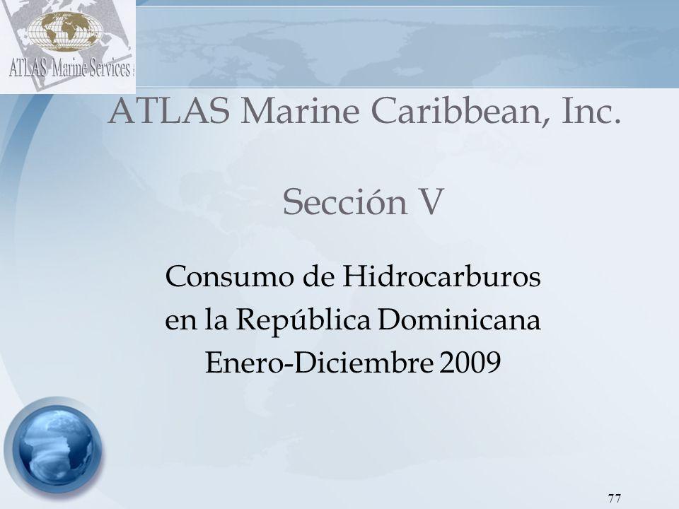 78 ATLAS Marine Caribbean, Inc Dirección de Hidrocarburos - Proyecto SEIC RD Gráfica 1: Consumo Promedio de Hidrocarburos Enero–Diciembre 2009 EneroFebreroMarzoAbrilMayoJunioJulioAgostoSeptiembreOctubreNoviembreDiciembre 6,164,2515,308,0335,713,2775,557,4765,214,0965,869,2856,454,2455,274,3435,508,3685,245,9225,524,7075,658,817 El mes de Julio es el mes que presentó el mayor volumen en consumo, debido dentro de otros factores, a la alta importación de combustibles por parte de las generadoras y los altos despachos de Refidomsa en comparación con los demás meses.