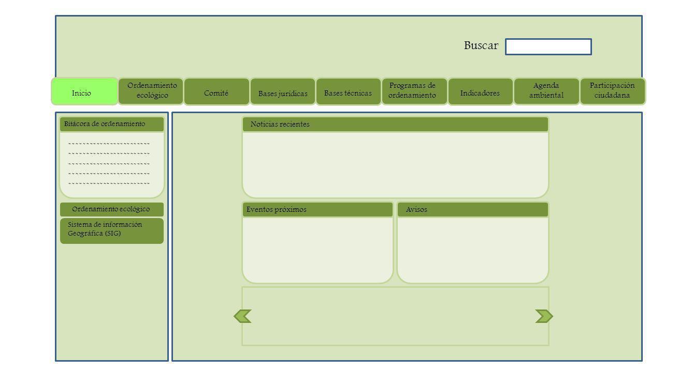 Inicio Ordenamiento ecológico Comité Bases jurídicas Bases técnicas Programas de ordenamiento Indicadores Agenda ambiental Participación ciudadana Noticias recientes Eventos próximosAvisos Buscar Bitácora de ordenamiento ------------------------ Sistema de información Geográfica (SIG) Ordenamiento ecológico