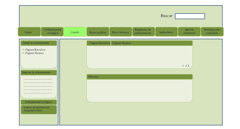 Órgano Ejecutivo ------------------------ Bitácora de ordenamiento + Órgano Ejecutivo + Órgano Técnico Comité de ordenamiento Minutas: Órgano Técnico 1 2 3 Sistema de información Geográfica (SIG) Ordenamiento ecológico Inicio Ordenamiento ecológico Comité Bases jurídicas Bases técnicas Programas de ordenamiento Indicadores Agenda ambiental Participación ciudadana Buscar