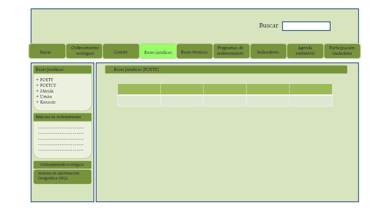 Bases Jurídicas [POETY] ------------------------ Bitácora de ordenamiento + POETY + POETCY + Mérida + Umán + Kanasín Bases Jurídicas Sistema de información Geográfica (SIG) Ordenamiento ecológico Inicio Ordenamiento ecológico Comité Bases jurídicas Bases técnicas Programas de ordenamiento Indicadores Agenda ambiental Participación ciudadana Buscar
